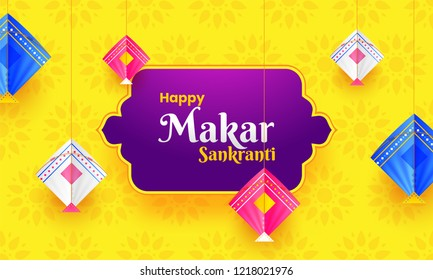 Colorful kites hang on yellow flower background. Happy Makar Sankranti festival greeting card design.