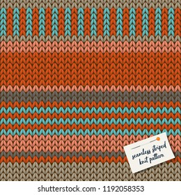 Colorful knitted stripes seamless background pattern. vector illustration.