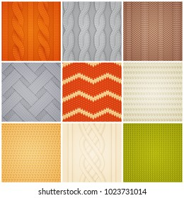Colorful knitting patterns texture realistic square samples set with cable zig-zag and rib stitch vector illustration