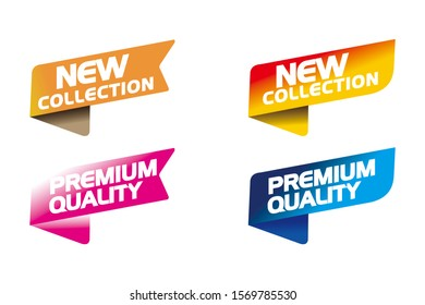 Colorful Label New Collection And Premium Quality template color editable. Vector Illustration Web Banner Element.