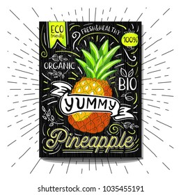 Colorful Label poster stickers food fruits vegetable chalk sketch style, food and spices. Pineapple. Bio eco vegetarian raw farm fresh organic. Hand drawn vector illustration.