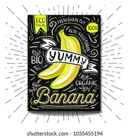 Colorful Label poster stickers food fruits vegetable chalk sketch style, food and spices. Banana. Bio eco vegetarian raw farm fresh organic. Hand drawn vector illustration.