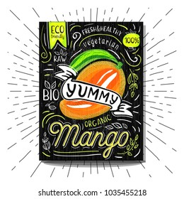 Colorful Label poster stickers food fruits vegetable chalk sketch style, food and spices. Mango ripe. Bio eco vegetarian raw farm fresh organic. Hand drawn vector illustration.