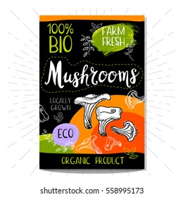 Colorful label in sketch style food spices, black background. Mushrooms. Vegetables. Bio, eco, farm, fresh. locally grown. Hand drawn vector illustration