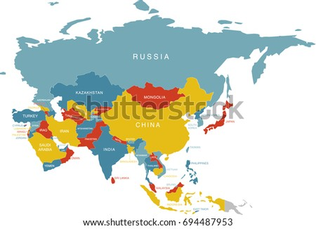 Colorful Labeled Map Asia Russia Labels Stock Vector (Royalty Free