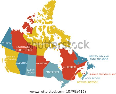Colorful Labeled Map Canada Labels Separate Stock Vector (Royalty
