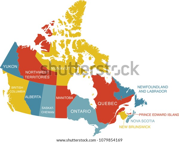 Map Of Canada With Labels.Colorful Labeled Map Canada Labels Separate Stock Vector Royalty