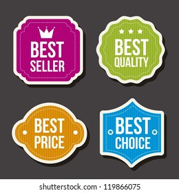 colorful labels over gray background. vector illustration