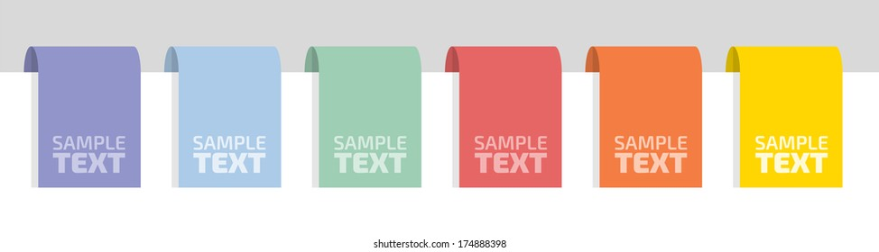 Colorful labels with place for your text, flat vector illustration