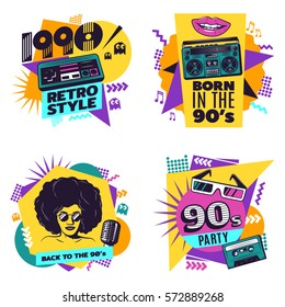 Colorful labels set with vintage music disco game and geometric trendy elements in retro style isolated vector illustration