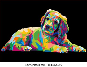 colorful Labrador Retriever dog head with cool isolated pop art style backround. WPAP style