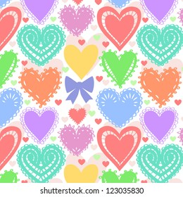 Colorful lacy hearts seamless pattern, vector