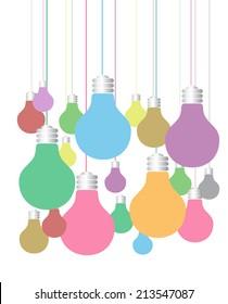 colorful lamp idea text box. speech bubble.