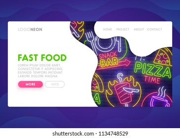 Colorful Landing Page. Mock up website. Home Page. Web banner templates. Social media, business app, seo and marketing. Theme Fast Food. Pizza Time and Snack Bar. Neon sign style. Vector illustration