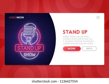 Colorful Landing Page. Mock up website. Home Page. Web banner templates. Social media, mobile app. Theme Stand Up . Neon sign style. Open Mic. Vector illustration