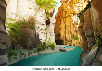 Colorful landscape of lush oasis in desert vector illustration