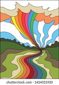 Colorful Landscape Vintage Background 1960s Psychedelic Hippie Art Style