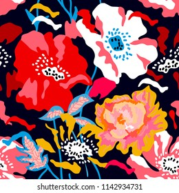 Colorful large poppies and peonies on black background. Seamless floral pattern with Spanish motifs. Trendy design for textile, cards and covers.
