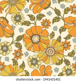 Colorful Large Scale Hand-Drawn Floral Vector Seamless Pattern. Retro 70s Style Nostalgic Fashion Textile Bold Background. Summer Resort Print. Daisies. Flower Power