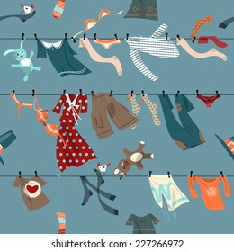 Colorful laundry drying on a washing lines. Seamless background pattern. Vector illustration.