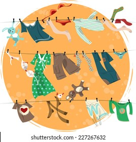 Colorful laundry drying on a washing lines. Vector illustration.