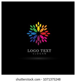 Colorful Leaf & Floral Logo. Symbol & Icon Vector Template.