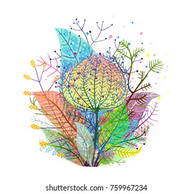 Colorful Leaves Decoration translucent Arrangement. Leaf flowers bunch transparent subtle effect composition. Vector design.