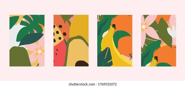 Farbige Vorlagen für Blätter, Blumen und Früchte. Exotisches Design für Webbanner, Broschüren, Cover, Flyer, Einladung, Plakat, Poster