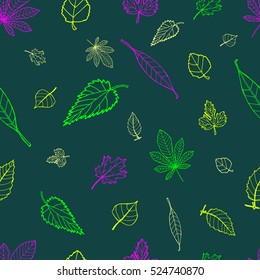 Colorful Leaves: Hand Drawn Pattern with Sketch elements for Print on Fabric. Textile Doodles Design. Hand-drawing elements on Seamless Background. Vector Illustration with drawing Sketch-art objects.