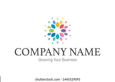 Colorful leaves logo - vector high quality uses for empowerment, youth, yoga, business growing, developing, community, company