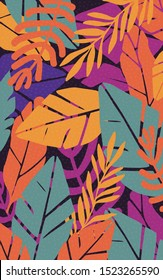 Colorful leaves seamless pattern background vector illustration. Exotic plants, branches and leaves art print for beauty, fashion and natural products, spa and wellness, wedding and events poster