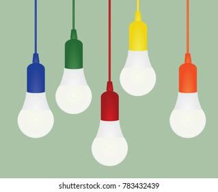 Colorful led bulbs. idea concept. vector illustration