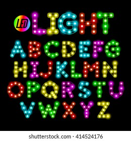 Colorful LED strip light alphabet vector illustration