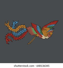 The colorful legendary animal phoenix feather bird chinese mythology