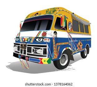 Colorful legendary mini bus named 'Car Rapid' in Dakar Senegal - vector illustration