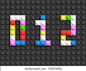 Colorful lego numbers 0,1,2 from plastic building lego bricks. Colorful vector lego numbers . Black  lego background