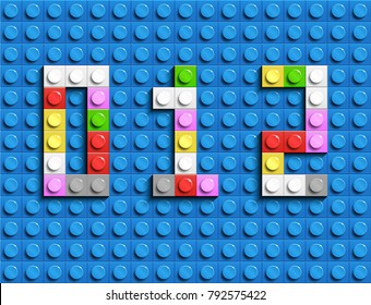 Colorful lego numbers 0,1,2 from plastic building lego bricks. Colorful vector lego numbers . Blue lego background