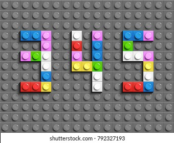 Colorful lego numbers 3,4,5 from plastic building lego bricks. Colorful vector lego numbers . Gray lego background