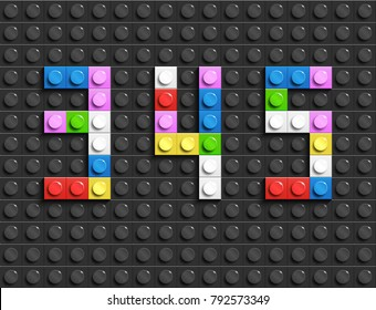 Colorful lego numbers 3,4,5 from plastic building lego bricks. Colorful vector lego numbers . Black  lego background