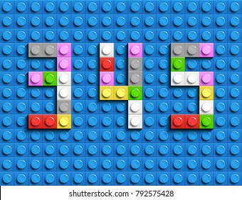 Colorful lego numbers 3,4,5 from plastic building lego bricks. Colorful vector lego numbers . Blue lego background