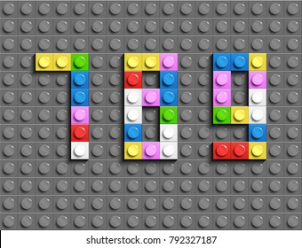 Colorful lego numbers 7,8,9 from plastic building lego bricks. Colorful vector lego numbers . Gray lego background