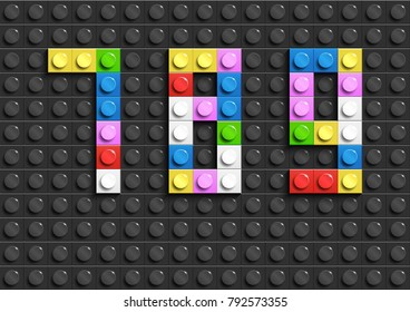 Colorful lego numbers 7,8,9 from plastic building lego bricks. Colorful vector lego numbers . Black  lego background
