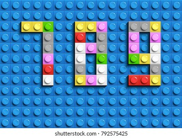 Colorful lego numbers 7,8,9 from plastic building lego bricks. Colorful vector lego numbers . Blue lego background