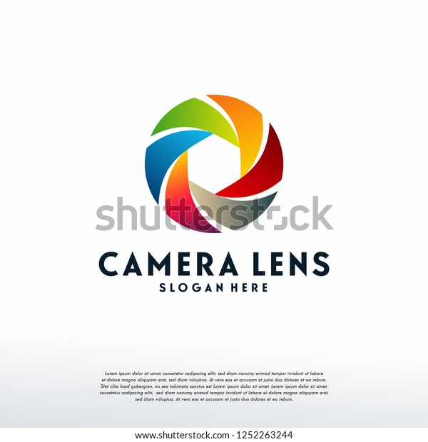 Colorful Lens Logo Designs Template Modern Stock Vector
