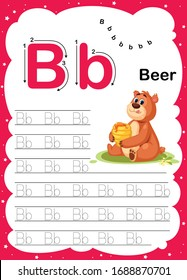 Colorful letter B Uppercase and Lowercase alphabet A-Z, Tracing and writing daily printable A4 practice worksheet with cute cartoon animals - vector illustration exercise for kids