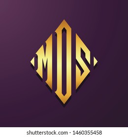 Colorful letter initial MOS logo collection
