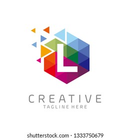 colorful letter L tech logo design vector with hexagon and pixel motion concept. multimedia logo. digital logo. innovation logo