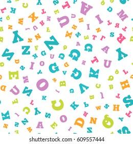 Colorful letter pattern on white background. Vector illustration for education design. Seamless pattern bright color letters random flying. Alphabet book concept for grammar school. Letter wallpaper