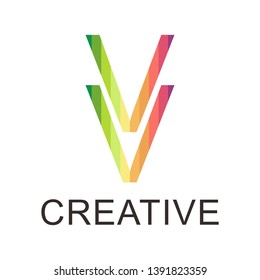 Colorful letter VV logo. VV logo with rainbow colors