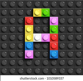 Colorful letters A of alphabet from building lego bricks on black lego brick background. lego background. 3d letters